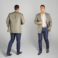 Attractive man in a gray blazer walking 212