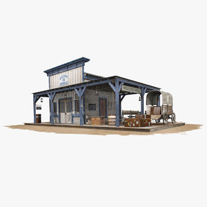 3D wooden old train station