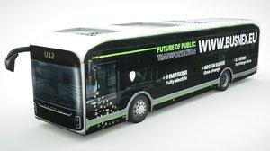 3D yutong u12 ev bus model