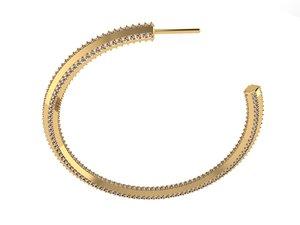 3D hoop earrings diamonds model