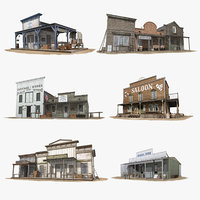 10 Western Houses Set