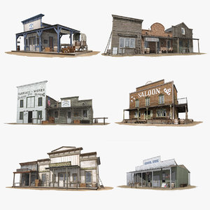 3D model buildings set western