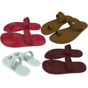 3D leather slippers model