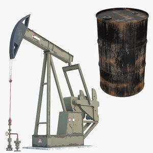 oil pump jack metal barrel 3D model