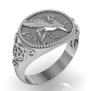 gents signet ring griffin 3D