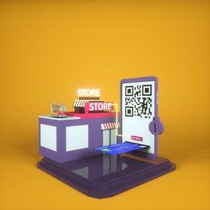 realiastic isometric online shop 3D model