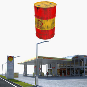shell gas station oil barrel 3D model