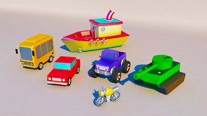 cars bus motorcycle 3D