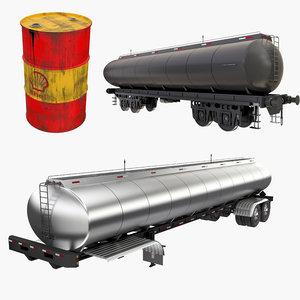 3D oil storage tanks railroad model