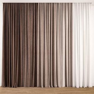 3D curtain fabric drape model