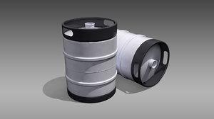 3D model keg half barrel