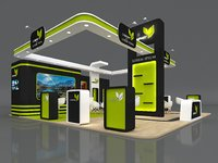 3D Exhibition Booth Stand Stall 9x9m Height 500 cm 3 Side Open 3D model