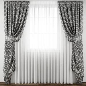 3D model curtain fabric drape