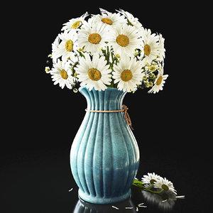 3D vase chamomile flowers model