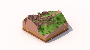 3D model cartoon machu pichu landmark
