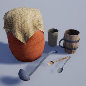 24 medieval village dishes 3D model