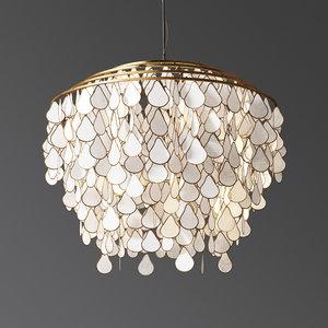 3D teardrops capiz chandelier model