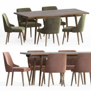 3D larsson dining table chairs model
