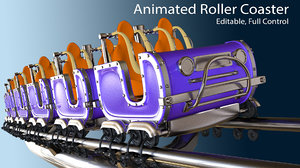 3D model roller coaster train animation