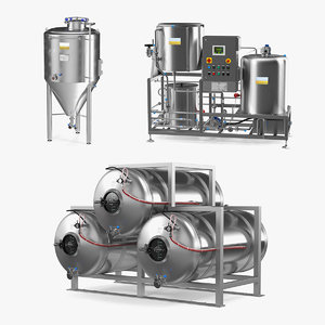 beer microbrewery equipment brewery 3D model