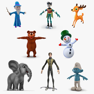 3D cartoon characters 5 model