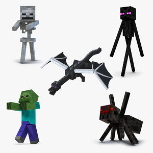 3D minecraft characters rigged 3 model