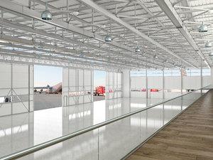 3D aircraft hangar air model
