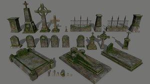 3D skull tombstone model