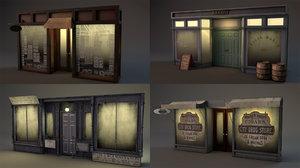vintage aged storefronts building model