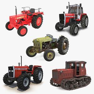 3D rigged vintage tractors 3