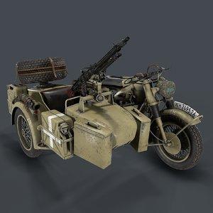 3D german motorcycle sidecar ww2