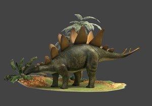 dinosaurs stegosaurs kennosaurs herbivores 3D
