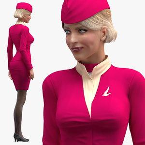 3D model stewardess maroon uniform standing