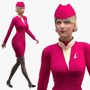 stewardess maroon uniform walking 3D model