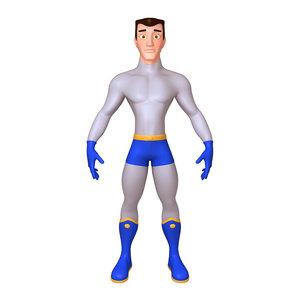 3D superhero cartoon 04 model