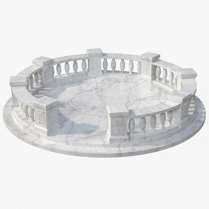 marble balustrade 3D model