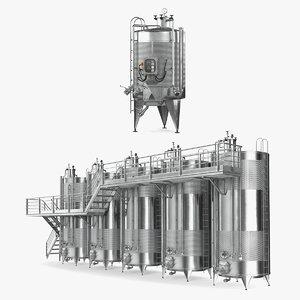 winemaking factory equipment wine 3D
