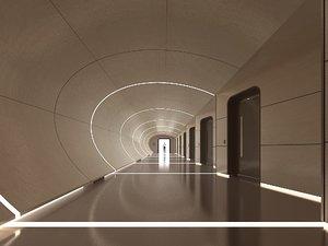 3D hallway hall model