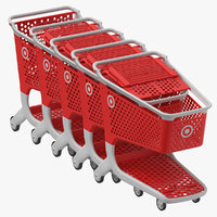 Plastic Shopping Carts 01 Row of 05