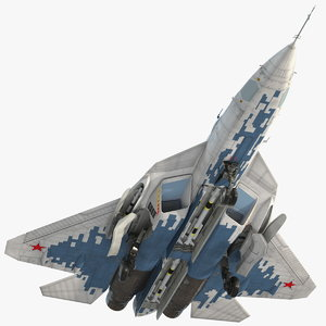 su 57 stealth jet fighter 3D model