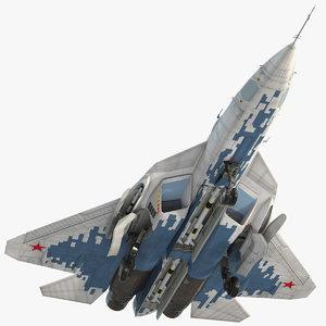 su 57 stealth jet fighter 3D model