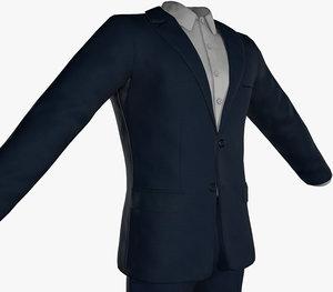 3D blue suit white shirt model
