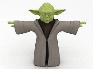 3D yoda green monster model