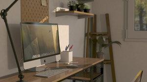 3D room lighting desk model