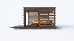 wooden loft style arbor 3D