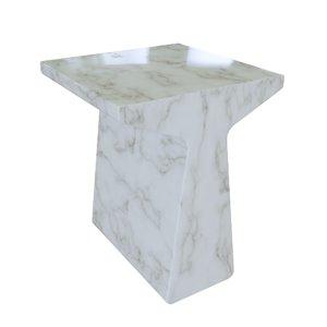 3D finn table white stone model