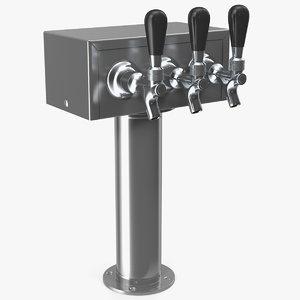 3D triple faucet beer tower
