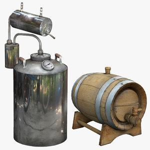 3D barrel brewing kettle brewingkettle model