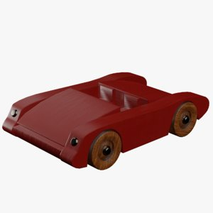 3D wooden painted toy sports car