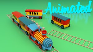 rigged cartoon train 3D model